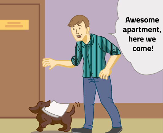 """The dog carries the man's application to the Villa office at 8000 River Pointe Drive as the man says """"Awesome apartment, here we come!"""""""